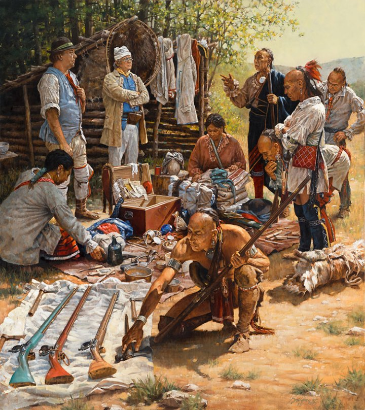 Haudenosaunee (Iroquois) men examine European muskets and other trade goods
