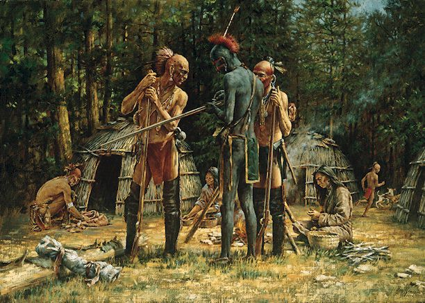 Haudenosaunee (Iroquois) people in a village