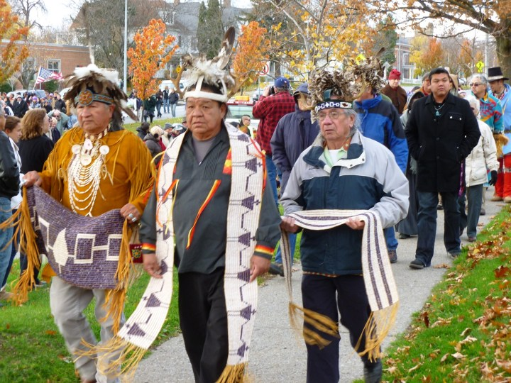 Haudenosaunee (Iroquois) people at a political march