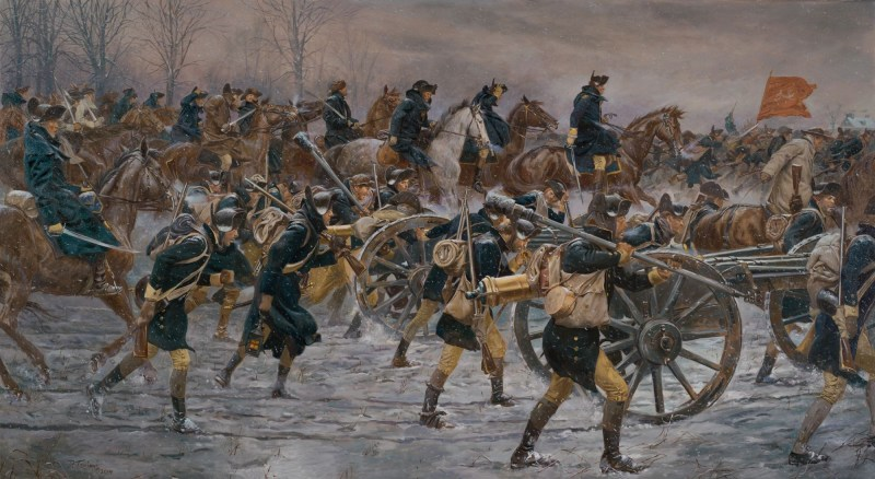 American colonial soldiers advance on the attack