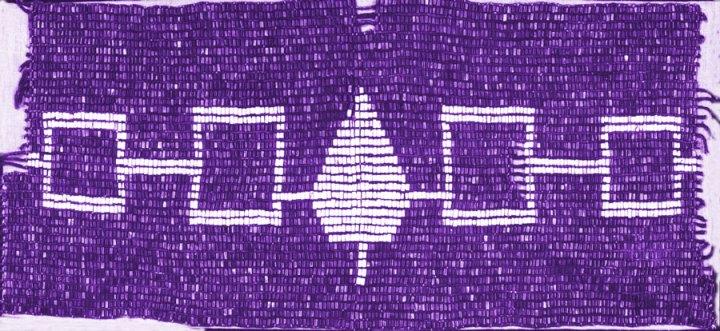 "The ""Hiawatha Belt,"" a wampum belt symbolizing the Five Tribes of the Haudenosaunee (Iroquois Confederacy)"