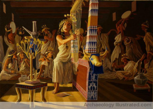 Queen Puabi playing her lyre