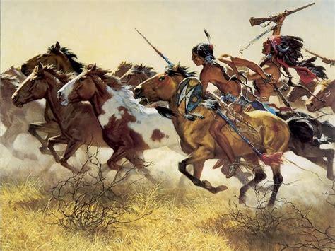 Comanche people herding horses