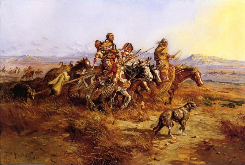 A Comanche family moving westward