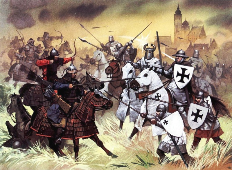 Mongol horsemen defeat a force of Polish knights