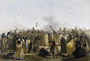 Comanche people parade the scalps of their slain enemies