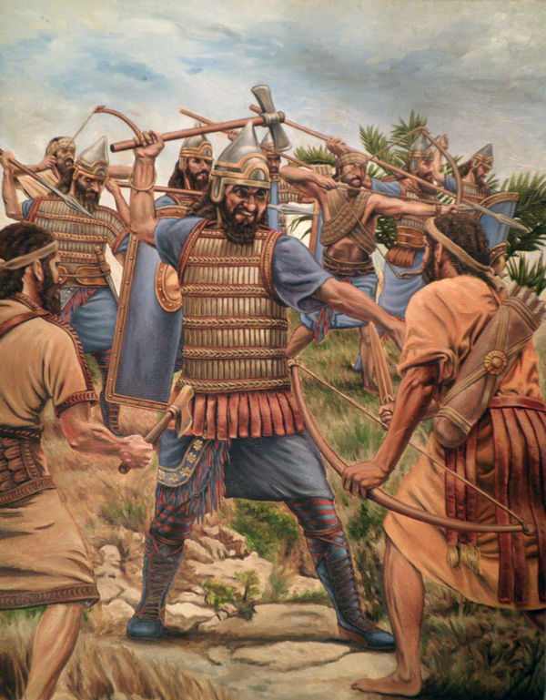 Assyrian soldiers slay their enemies