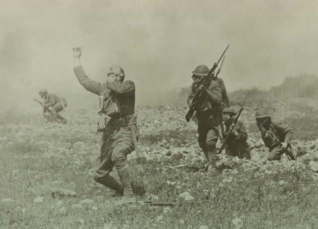 A soldier dies from a gas attack in World War I