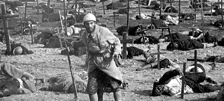 A soldier stumbles across the battlefield in J'accuse (1918)