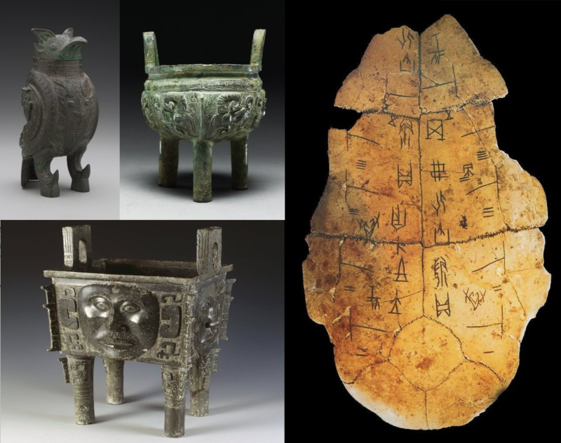 "Bronze vessels and ""oracle bone"" of the Shang dynasty"