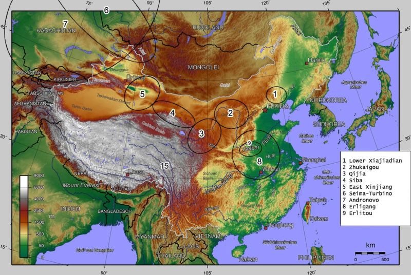 Sites associated with the Seima-Turbino Phenomenon in Central Asia and China