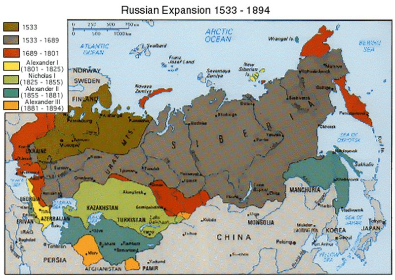 Russia's expansion across Central Asia, 1533-1894
