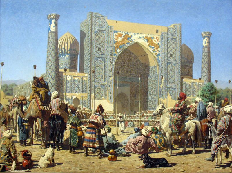 """Triumph"" by Vasiliy Vereshchagin, depicting the ruined Sher-i-Dor Madrasa in Samarkand"