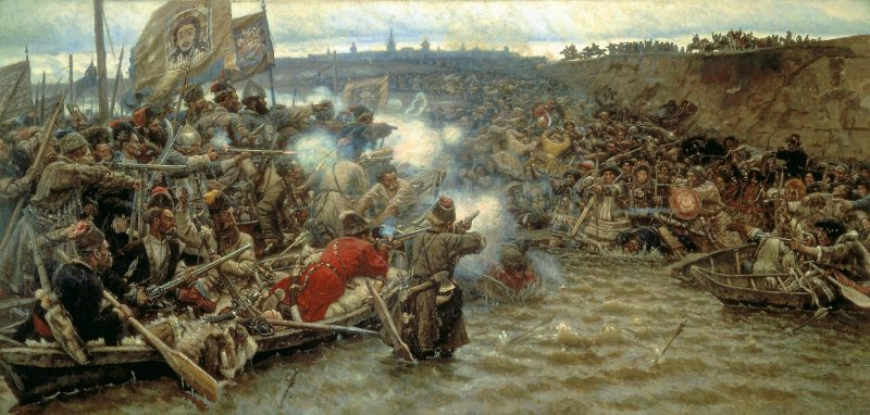 Russian Cossacks Battling Siberian Peoples