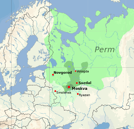 Moscow's territorial expansion throughout the 14-1500s