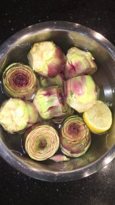 Artichokes in lemon water