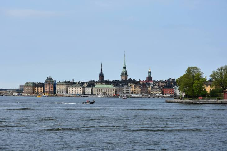 View of the Stockholm city center from the sea.