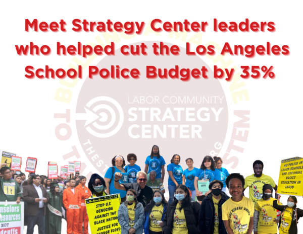 Meet Strategy Center leaders who helped cut the Los Angeles School Police Budget by 35% Meet Channing Martinez and Brigette Amaya, Strategy Center leaders who helped cut the Los Angeles School Police Budget by 35% and then worked with many coalitional partners to get the LA School Board to invest $35 million in Black students and Black concentration schools. Work with Strategy Center to get Augustus Hawkins High School included in the Black Futures Program It is not the fault of 170 Black students at Hawkins that the LAPD, the entire system, and yes, the Los Angeles School system pushed so many Black families out of L.A. you can take one book at a time for a whole year—yes, reading is great