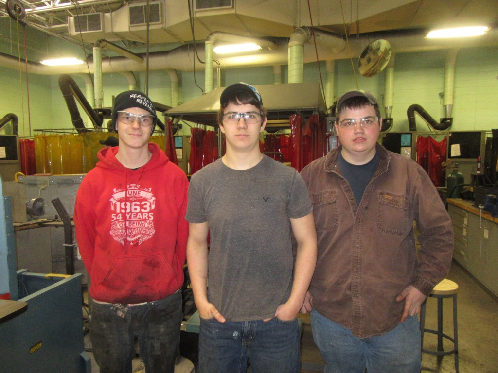 SCCTC welding students (from left) Jake Peters, Jason Salmini and Markus Newberry