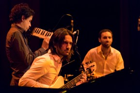 The Ospina Brothers Trio (Juan Andrés - piano, melodica; Nicolas Ospina - piano, maracas; Andres Rotmistrovsky - electric bass; Marcelo Woloski - percussion) at the 2015 Capital Jazz Project held at the Street Theatre -- Civic, Canberra, ACT