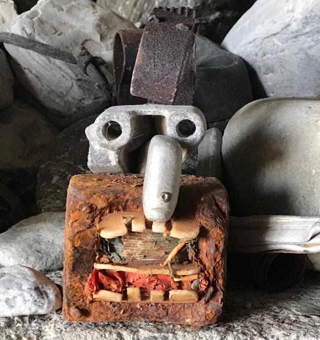 Face make of junk found on beach. Talk about stressful!