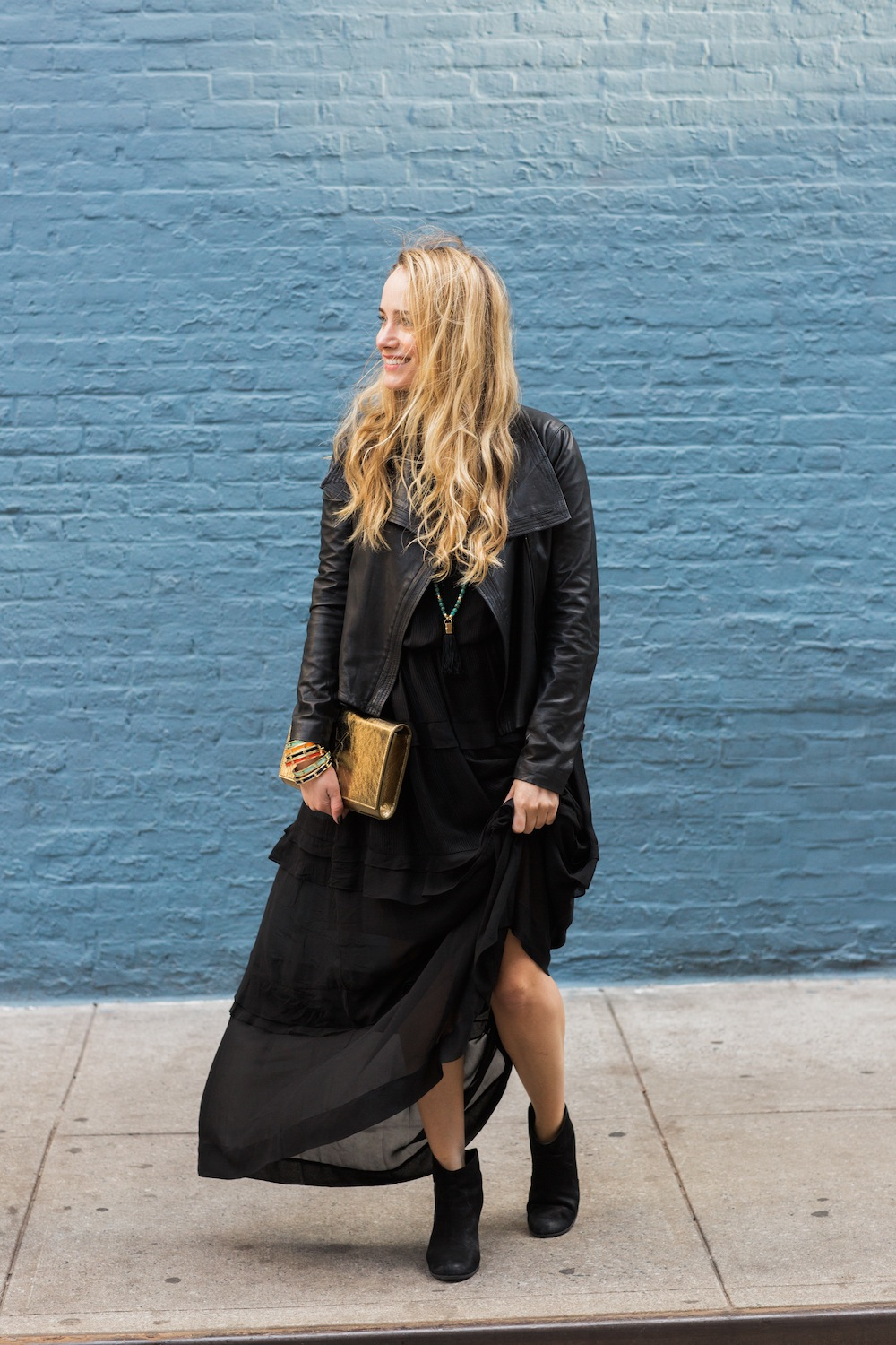 by malene birger silk maxi dress with vince leather jacket and saint laurent gold clutch - grace atwood, the stripe