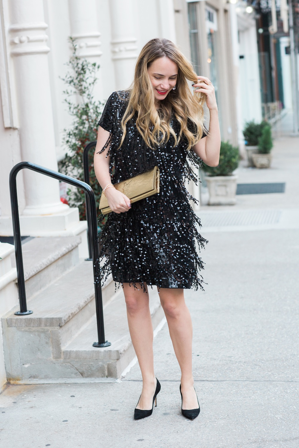 michael kors sequin dress // saint laurent monogram clutch // manolo blahnik bb pumps -- grace atwood, the stripe