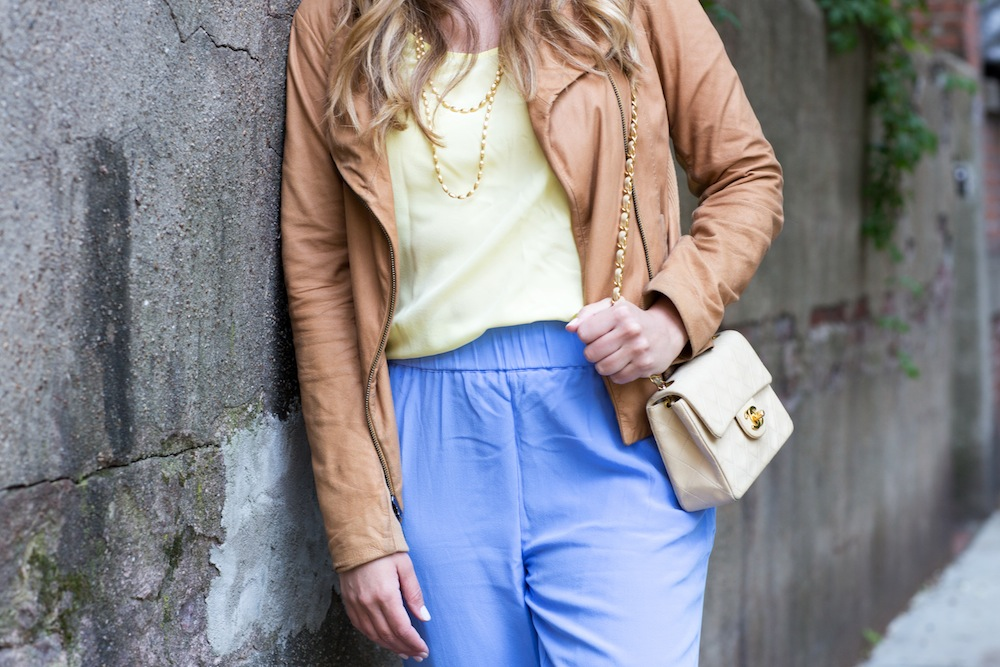 How to Mix Pastels - Grana Silk Basics, Vince Leather Jacket - Grace Atwood, The Stripe