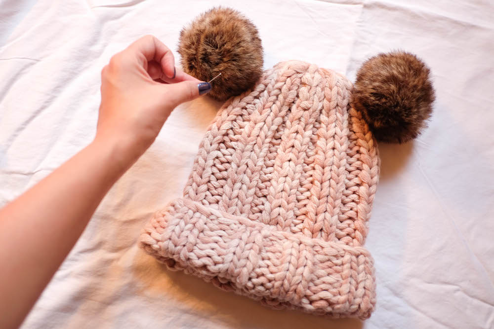 "diy double pom pom beanie - inspired by eugenia kim's $225 ""mimi"" beanie // the stripe blog"