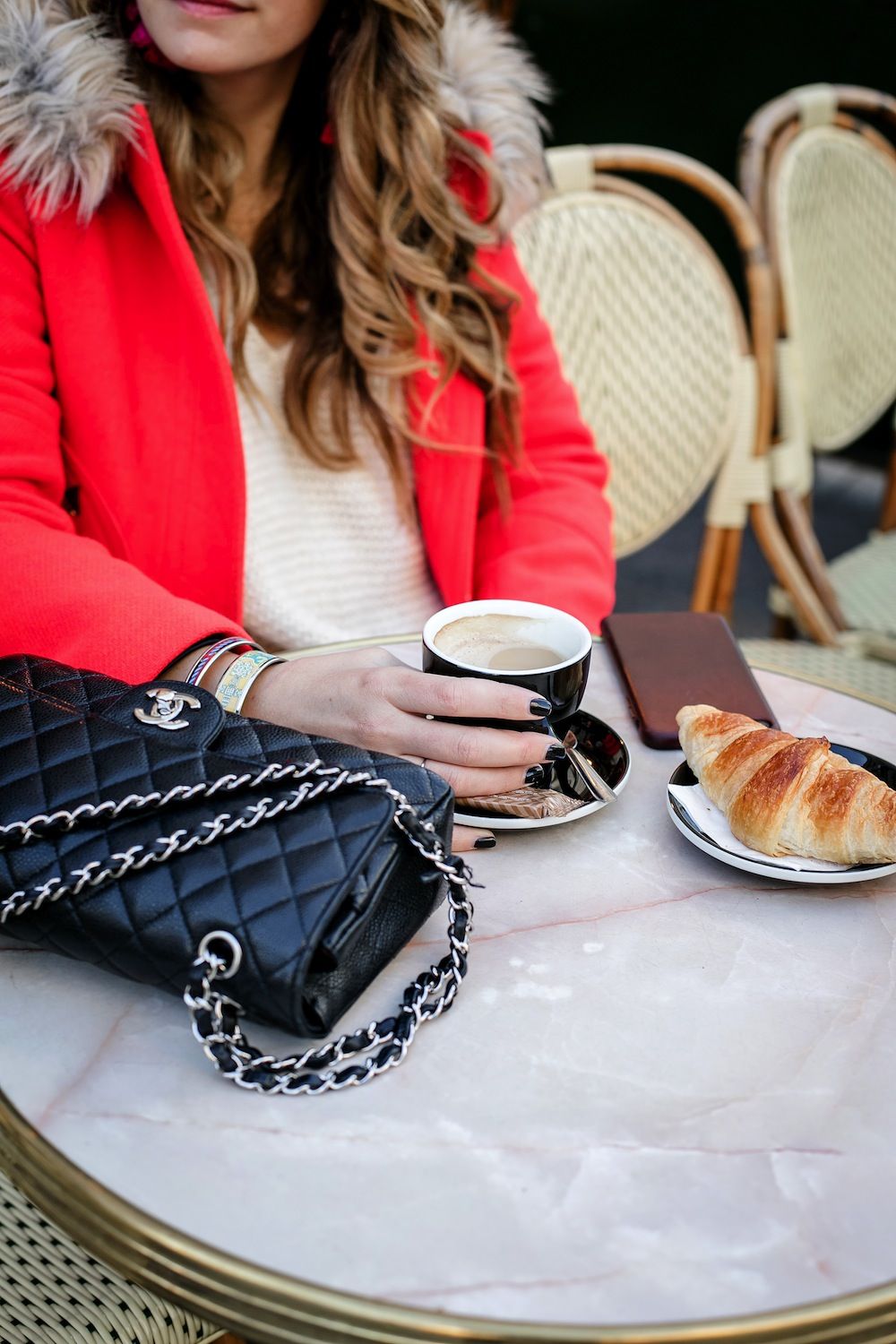 early mornings in paris | cafe de l'epoque paris, chanel classic flap bag, croissant + latte | grace atwood, the stripe