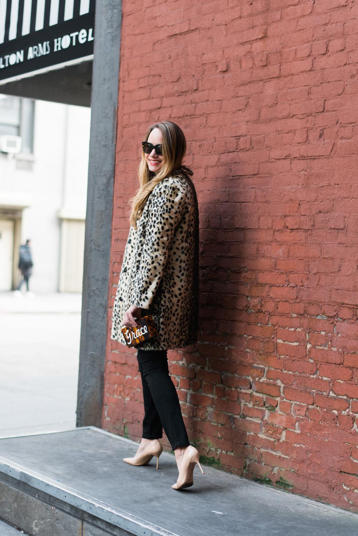 j. mclaughlin leopard coat // moon & lola calypso clutch - grace atwood | the stripe blog