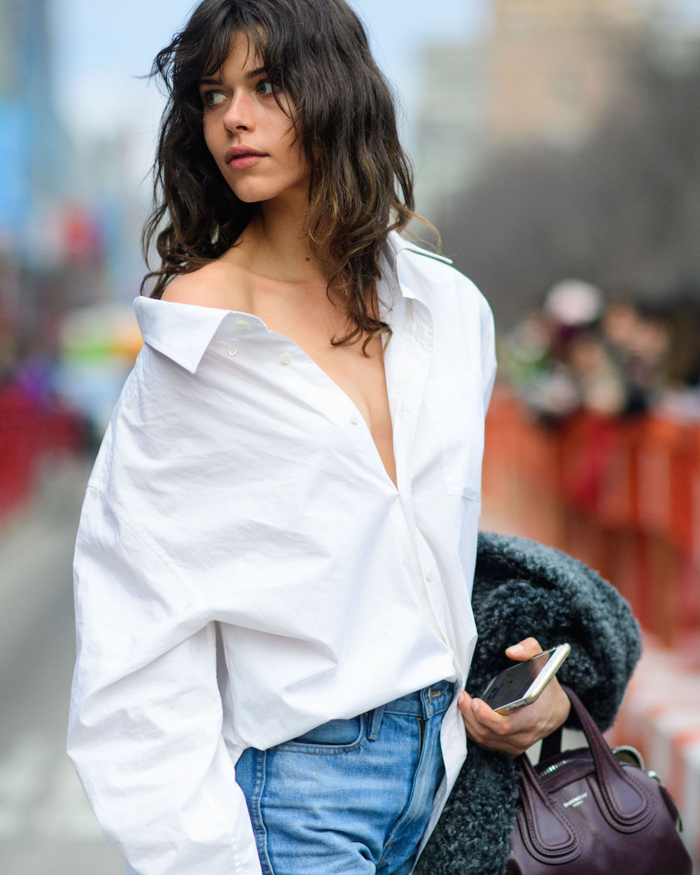 dramatic white men's blouse off-the-shoulder // best wearable nyfw street style 2017 | the stripe