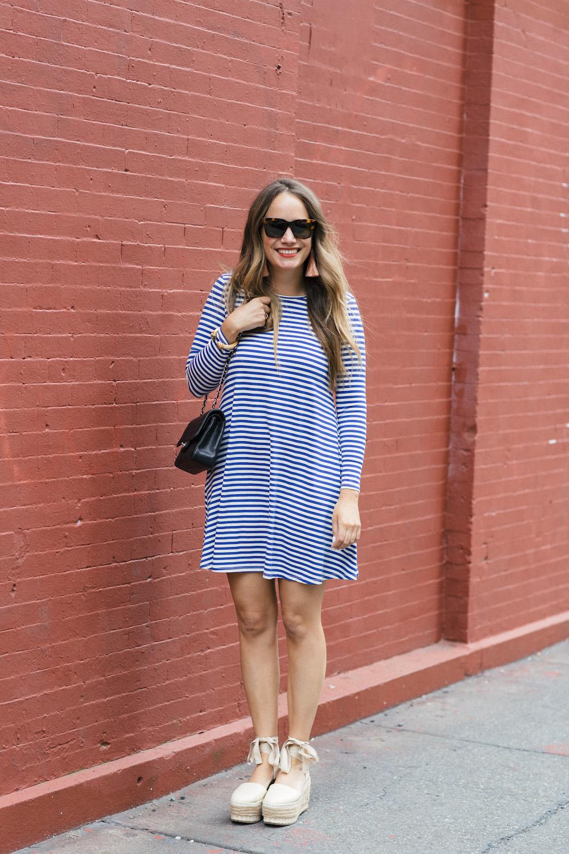 jane hudson stripe dress, tory burch espadrilles | grace atwood, the stripe