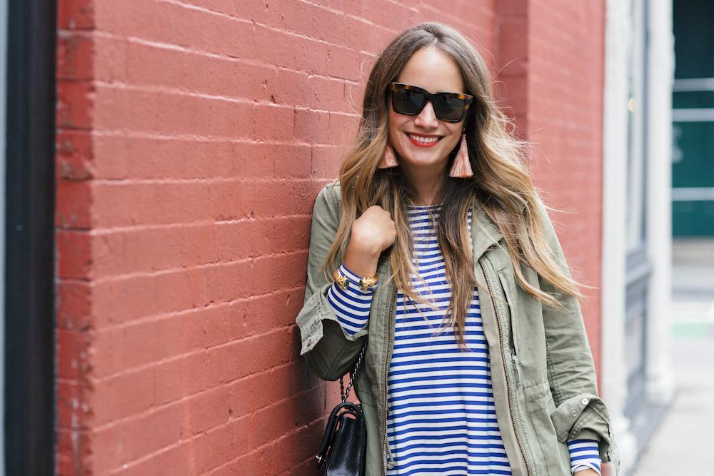 jane hudson stripe dress, madewell fleet jacket | grace atwood, the stripe