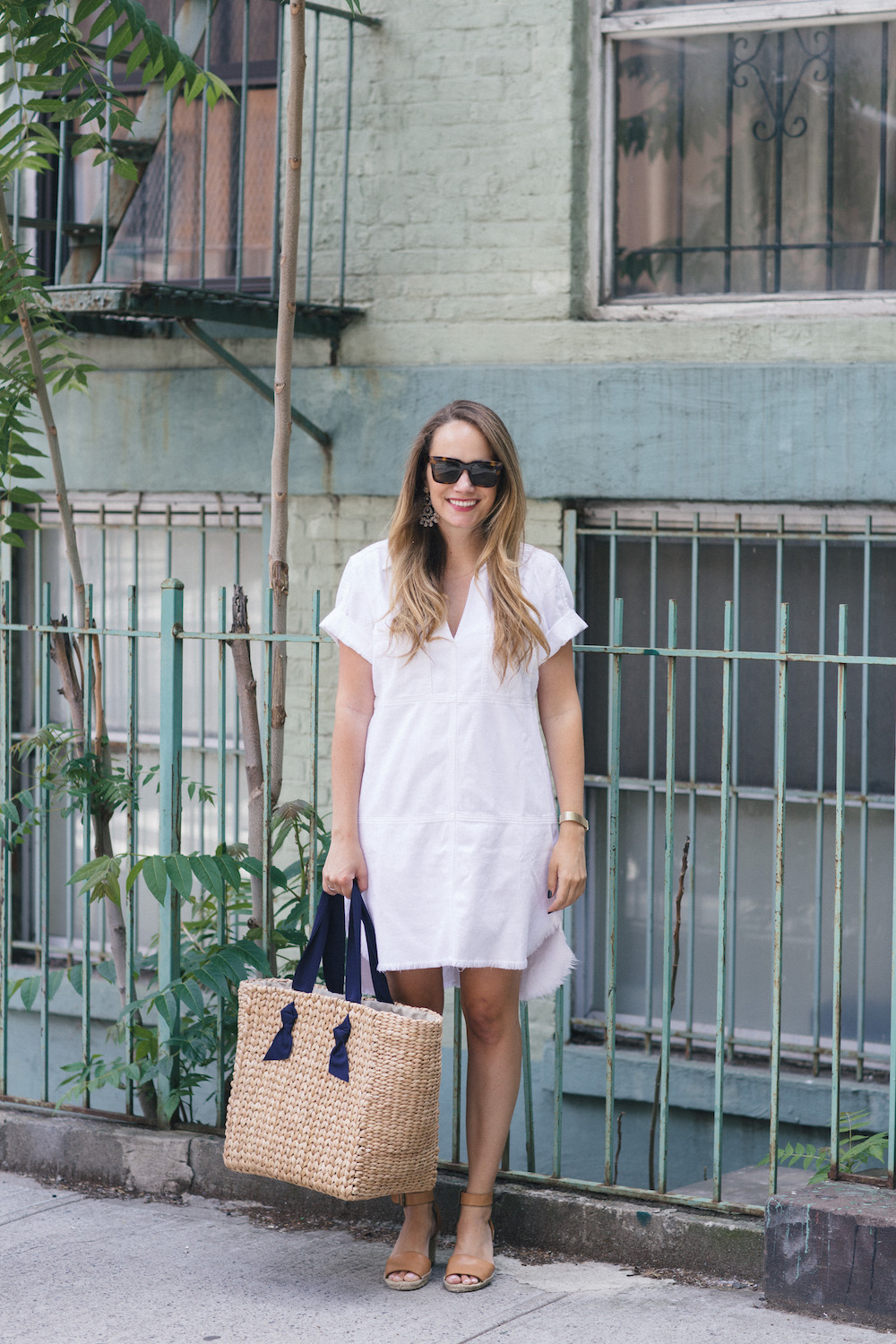 7 for all mankind short sleeve popover dress in white   the stripe