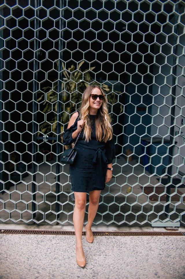 maje cold shoulder dress | the stripe