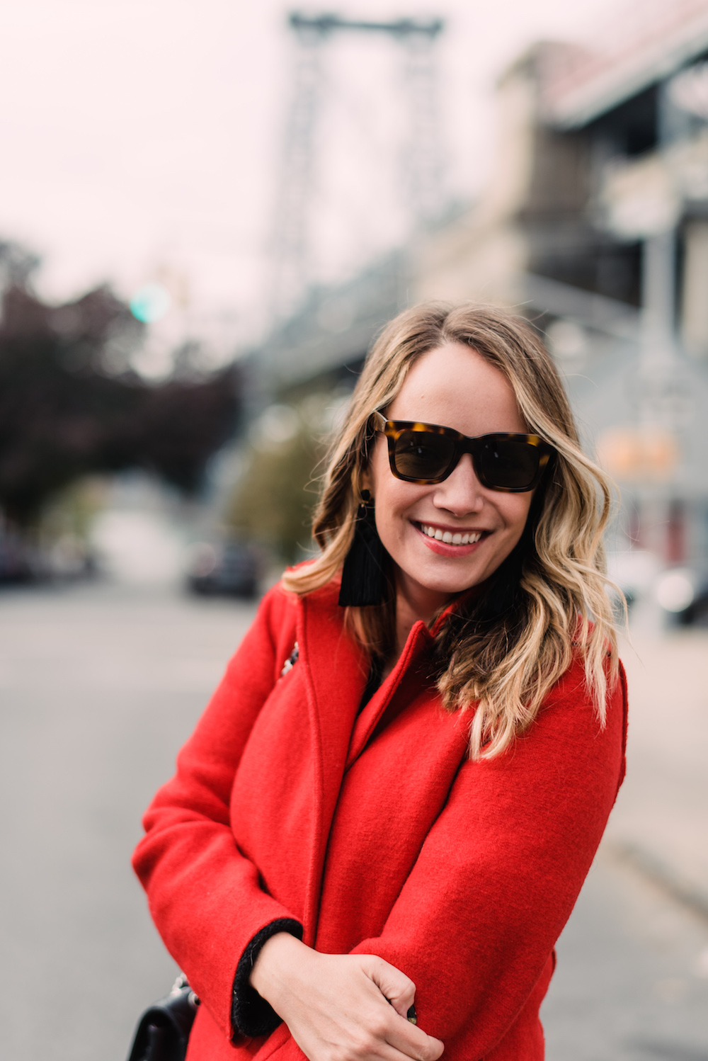 J.Crew Daphne Topcoat in Boiled Wool, Bright Red // Free People All Mine Sweater | Grace Atwood, The Stripe