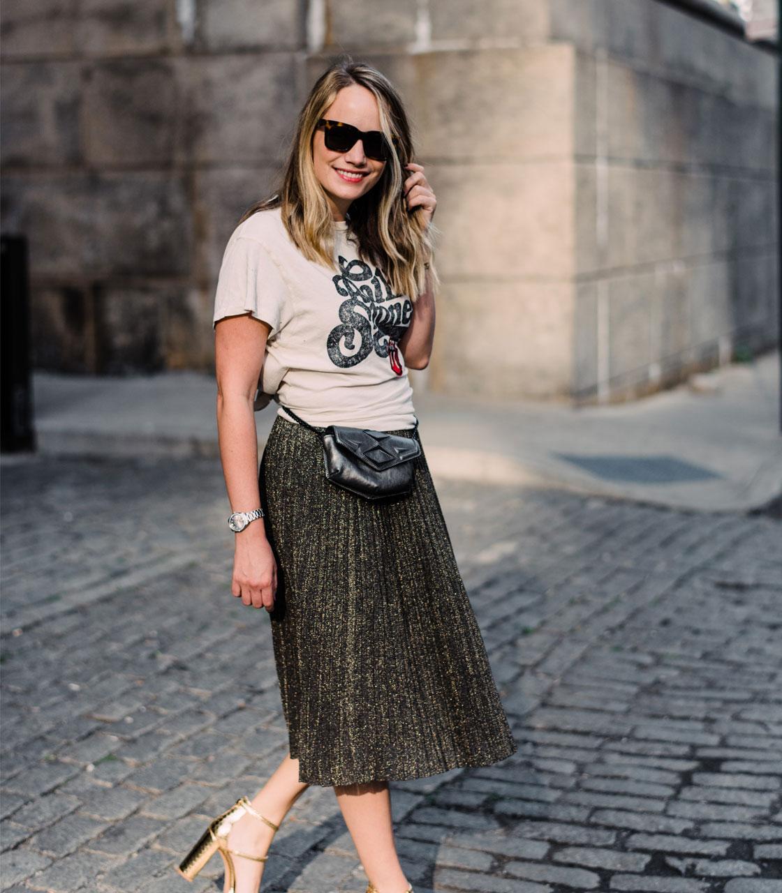 9474d31b8b Vintage Tee + Metallic Skirt. - The Stripe