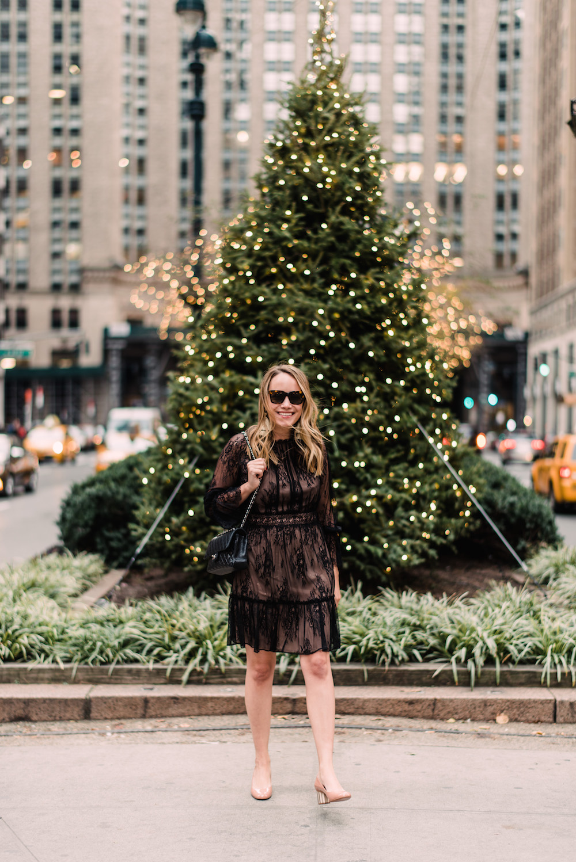 Shoshanna Lace Dress, Salvatore Ferragamo Rounded Toe Flower Heel Pump, Hart Hagerty Tassel Earrings | Grace Atwood, The Stripe