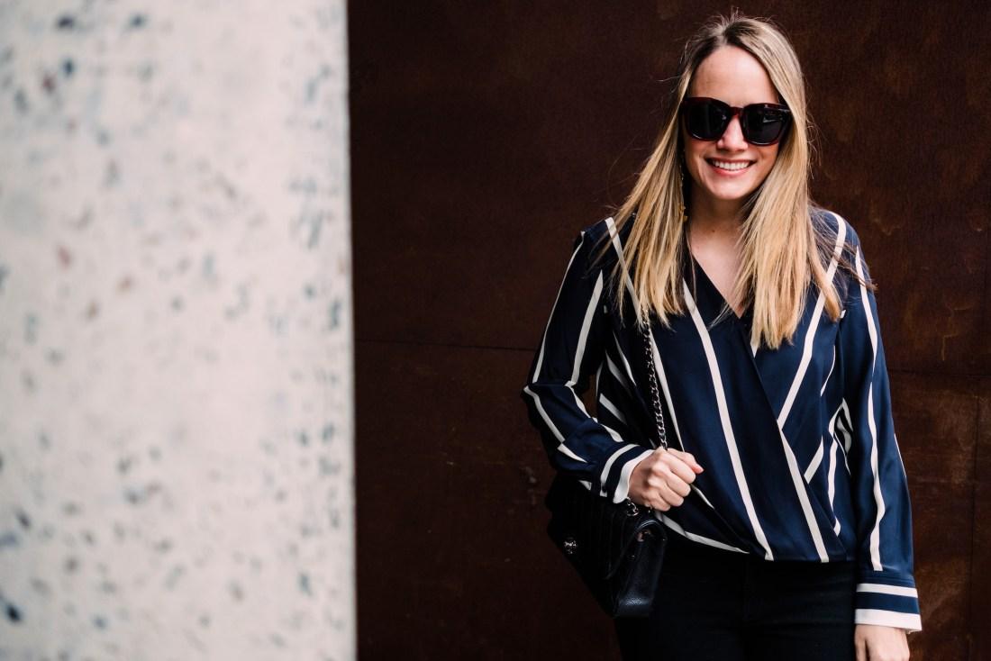Rag & Bone Victor wrap-effect striped silk crepe de chine blouse | Grace Atwood, The Stripe