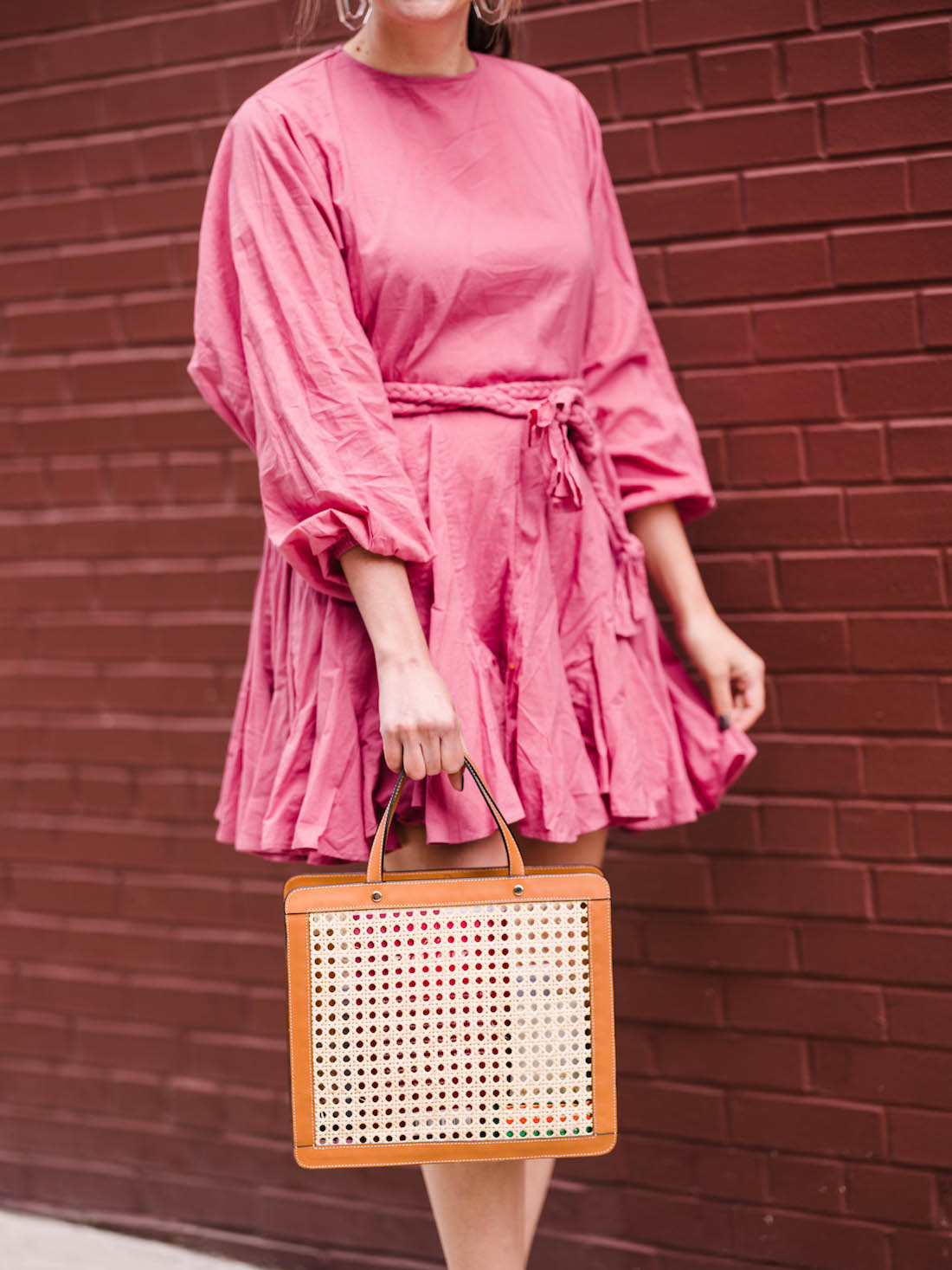 rhode resort ella dress, palmgrens rattan bag | grace atwood, the stripe