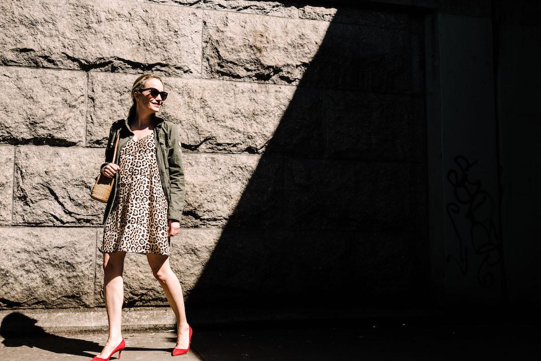 ATM Anthony Thomas Melillo Leopard Silk Slip Dress - Zadig & Voltaire Virginia Grunge Military Jacket - BB' Pointy Toe Pump MANOLO BLAHNIK - Bembien® Harper bag J.CREW