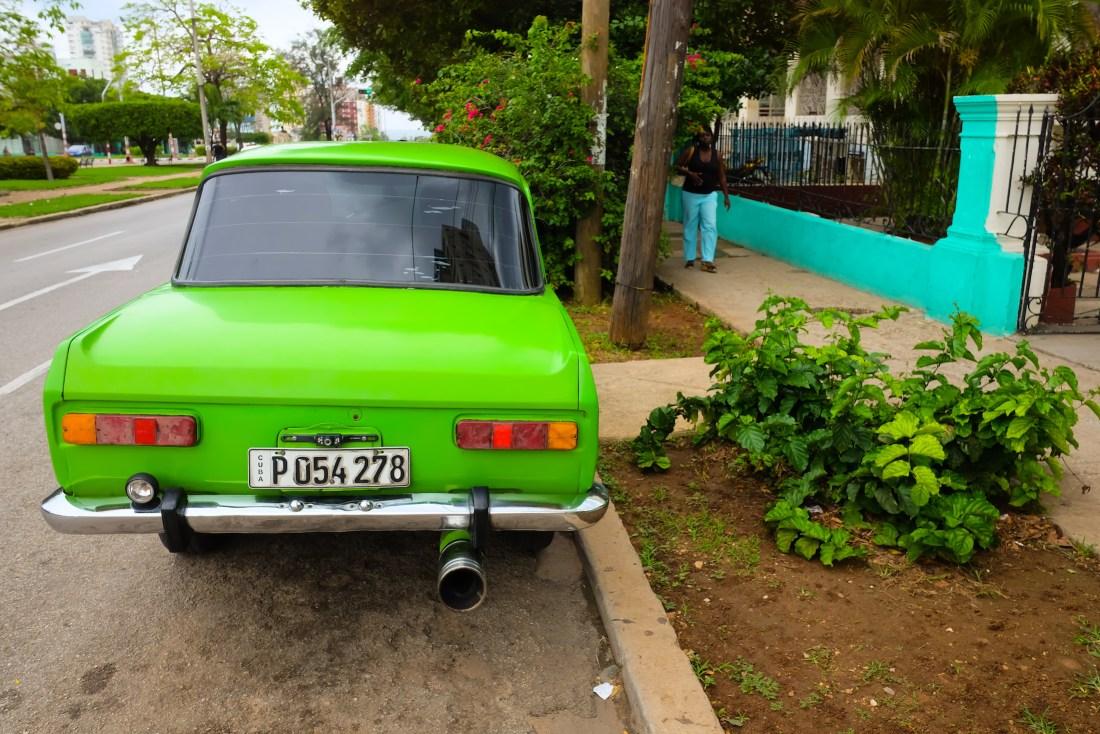 cuba photo diary green car