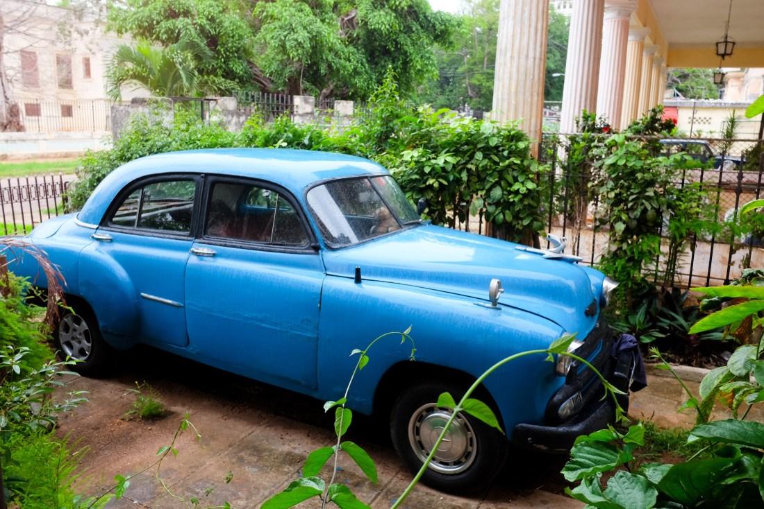 blue car - cuba travel guide