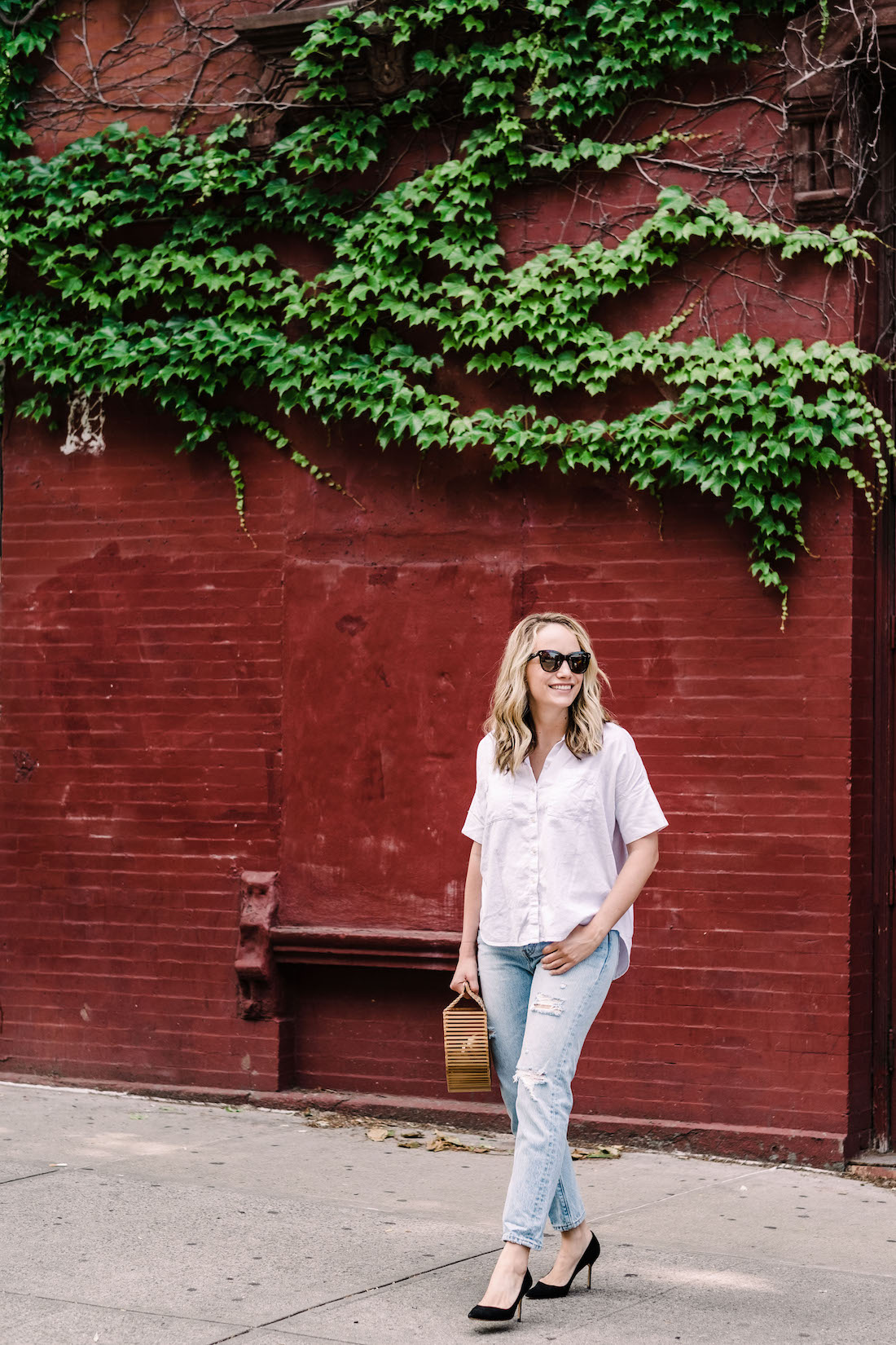 Outfit Details: Madewell Courier Shirt // Levi's Jeans // Cult Gaia Bag // Manolo Blahnik Heels // Polaroid Sunglasses - The Stripe