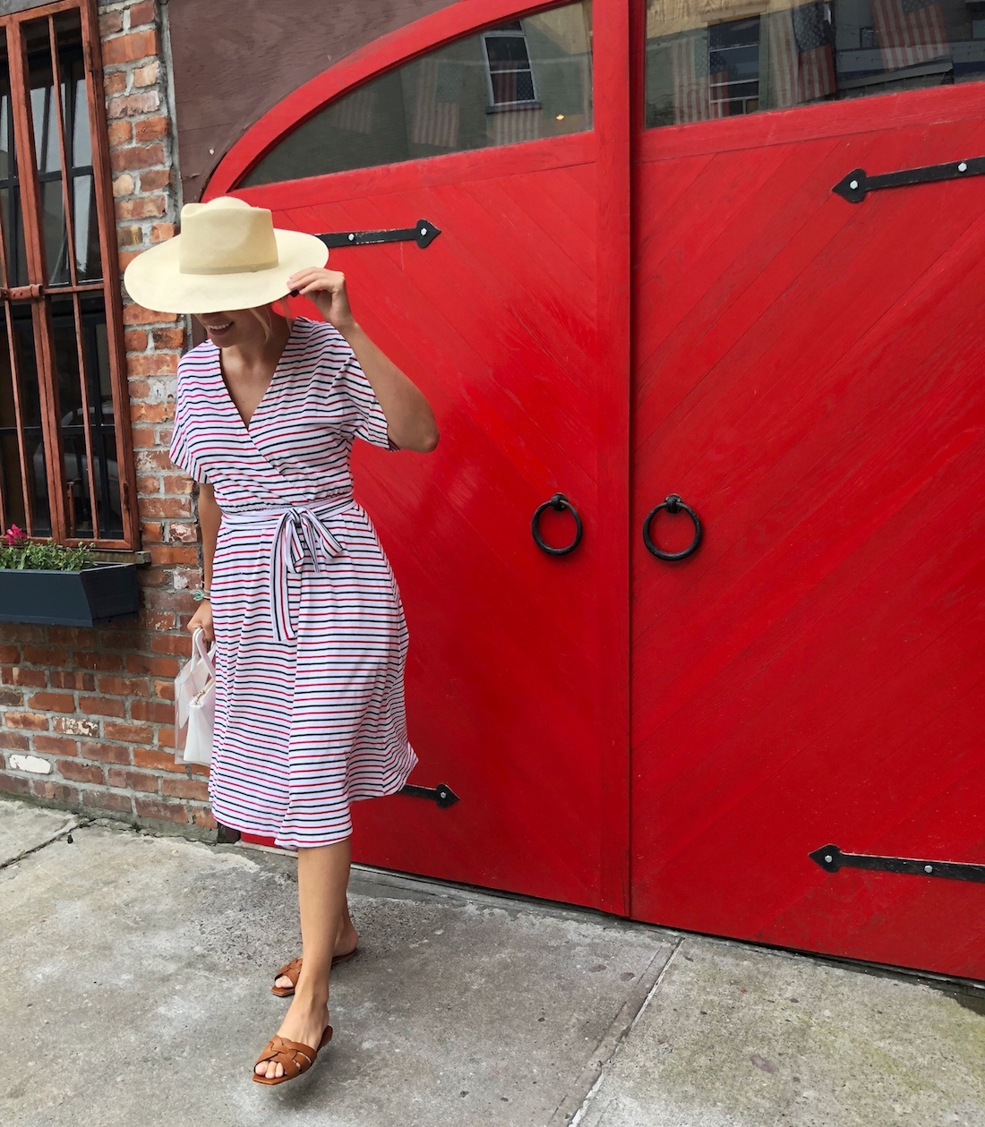 Outfit Details:MDS Stripes Dress // Cuyana Hat // Saint Laurent Slides // Staud Bag - The Stripe