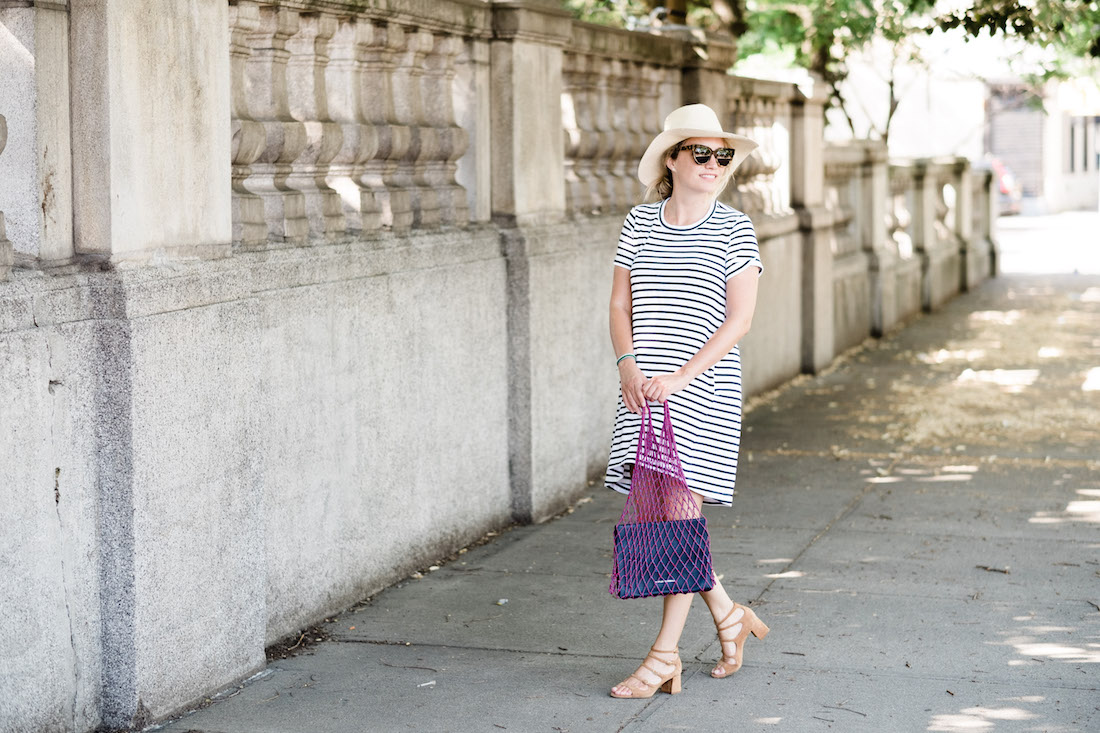 easy summer outfit idea - striped dress, panama hat, simple sandals