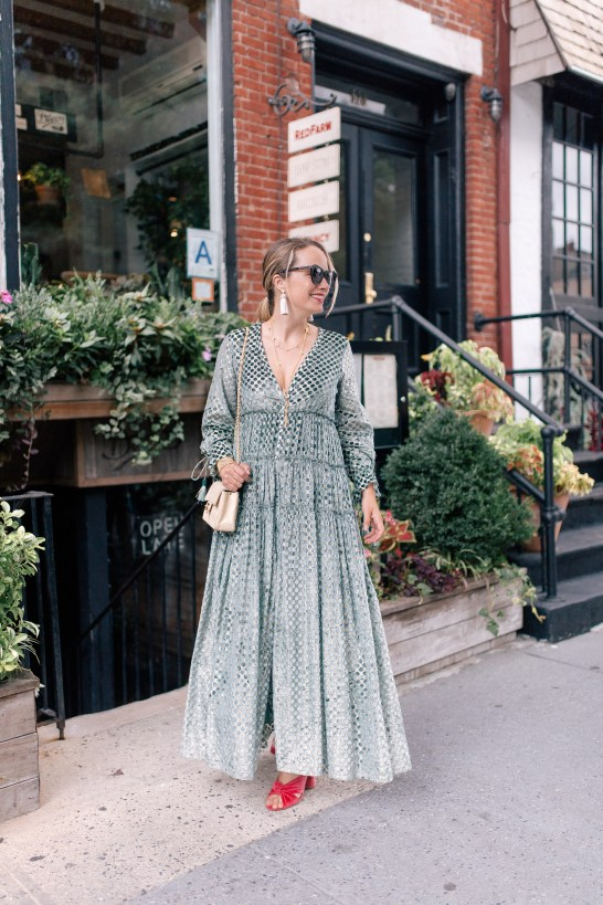 Rococo Sand Dress // Chanel Purse // Julie Vos Necklaces // Julie Vos Cuff // Hart Tassel Earrings // Karen Walker Sunglasses