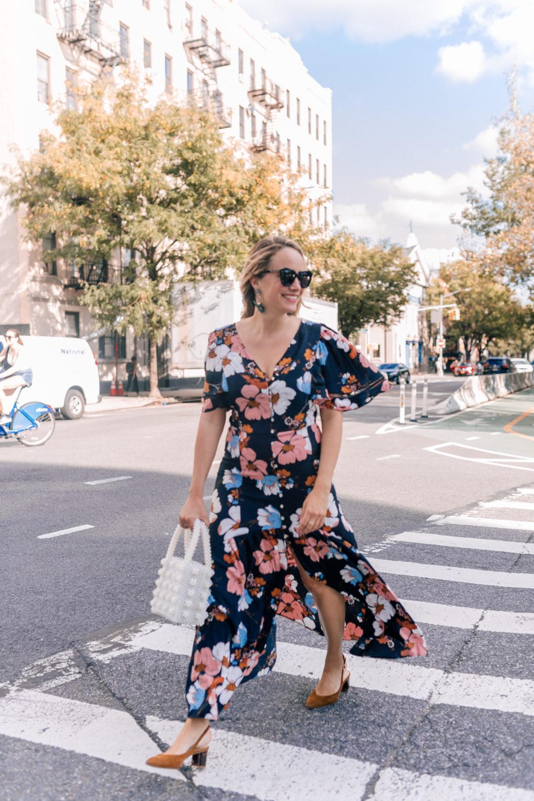 Outfit Details:Ella Moon Dress // Miuco Pearl Bag (obsessed) // Lele Sadoughi Earrings // Sarah Flint Heels// Karen Walker Sunglasses