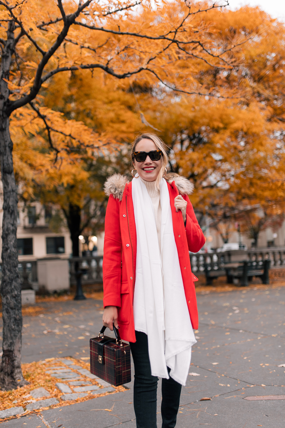 Outfit Details:J.Crew Chateau Parka (also here, finally ON SALE!) // Paige Jeans // Heidi Wynn Cashmere Wrap (20% off with code HOLIDAY20)// Zara Sweater // Celine Sunglasses // BaubleBar Mini Penelope Hoop Earrings(currently on sale!) // Patricia Nash Bag